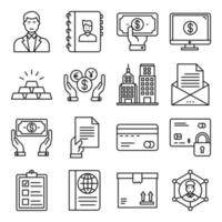 Pack of Business Care Linear Icon vector