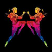 Muay Thai Boxing Jumping To Attack vector