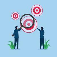 Business man and woman magnifying on biggest target vector