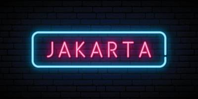 Jakarta neon sign vector