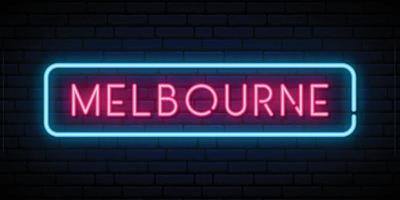 Melbourne neon sign vector
