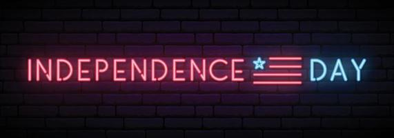 Long neon banner for Independence Day USA celebration vector