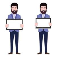 Young beautiful businessman a character wearing business outfit standing with blank laptop tablet screen vector