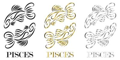 line vector logo of two fish It is sign of pisces zodiac there are three color black gold silver