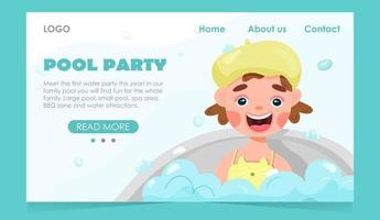 Kids pool party banner vector
