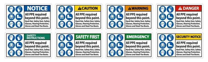 PPE Required Beyond This Point Hard Hat Safety Vest Safety Glasses Hearing Protection vector