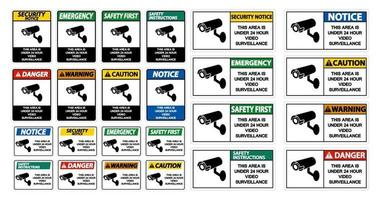 This Area is Under 24 Hour Video Surveillance Sign vector