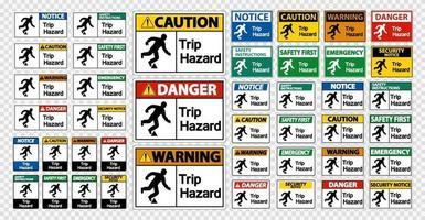 Set Trip Hazard Symbol Sign on transparent background vector