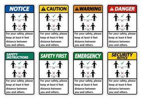 Mantenga una distancia de 6 pies por su seguridad, por favor mantenga una distancia de al menos 6 pies entre usted y los demás. vector