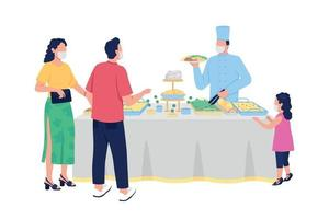 Buffet style reception flat color vector faceless characters