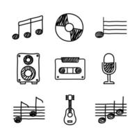 bundle of music set icons vector