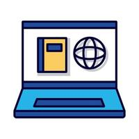 sphere browser in book with laptop line and fill style icon vector