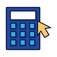 calculator math with arrow mouse line style vector