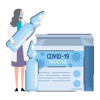 Frascos de vacuna covid19 en caja con doctora vector