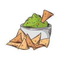 nachos guacamole snack vector