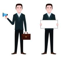 Businessman characters wearing business outfit standing with blank presentation board and blank placard bag mic holding vector