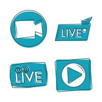 live camera play button internet content promotion icons vector