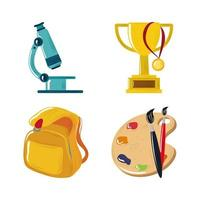 back to school microscope trophy backpack and paintbrush icons set vector