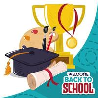 back to school education trophy paintbrush graduation hat and certificate vector