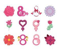 día de la mujer movimiento internacional ocho de marzo flores iconos conjunto vector