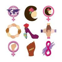womens day icons set world gender woman shoe eight vector