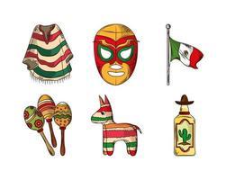 mexican celebration set vector