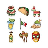 mexican party set vector