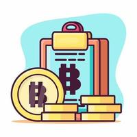 coin with to do list board for bitcoin concept symbol illustration in flat style vector