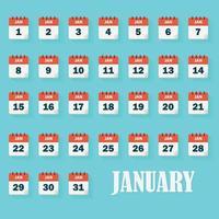 iconos de calendario de enero vector