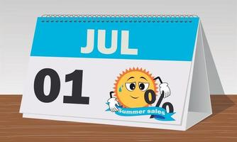 one July summer sales blue and white clock and calendar vector