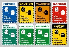 Wear Protective Equipment with goggles and glasses graphics vector