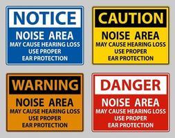 el área con ruido puede causar pérdida de audición use protección adecuada para los oídos vector