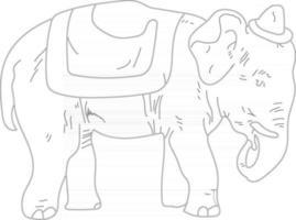 Esquema lindo elefante con sombrero de circo perfecto para colorear página vector