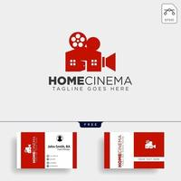 Home video cinema black color simple line logo template vector illustration icon element isolated vector file