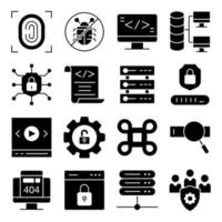Pack of Smart Security Solid Icons vector