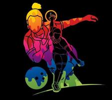 Abstract Bowling Sport Female Players vector