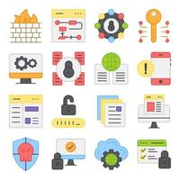 Pack of Security and Protection Flat Icons vector
