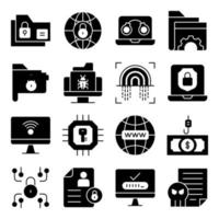 Pack of Protection Solid Icons vector