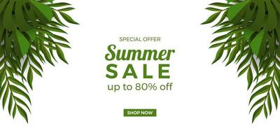 summer sale offer banner promotion with tropical green leaves frame decoration with white background vector