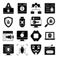 Pack of Security Solid Icons vector
