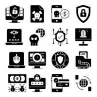 Pack of Encryption Solid Icons vector