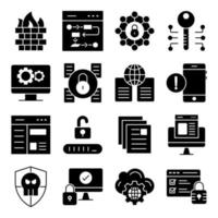 Pack of Security and Protection Solid Icons vector