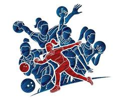Silhouette Bowling Sport Female Players vector