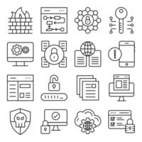 Pack of Security and Protection Linear Icons vector