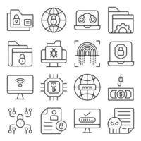 Pack of Protection Linear Icons vector