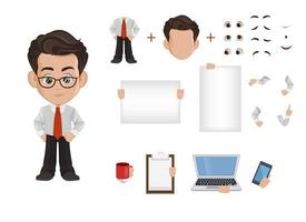 Business man cartoon character creation set vector