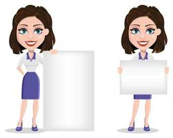 Beautiful business woman holding blank placard and standing near placard vector