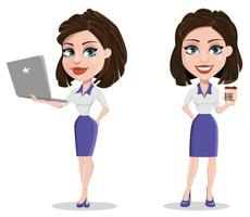 Beautiful business woman holding laptop and having a rest while coffee break vector