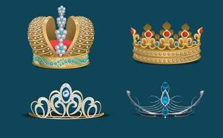 Realistic golden crown for king or queen collection set Royalty jewelry prince and princess collection Vector EPS 10