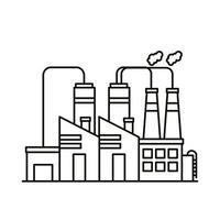 industry factory buildings and chimneys line style icons vector